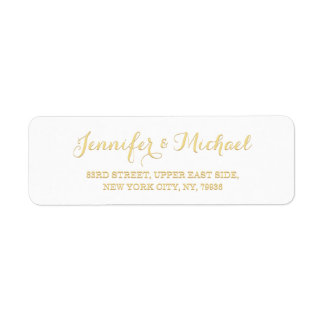 Custom Personalized Golden Wedding Return Address Label