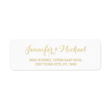 Beach Themed Custom Personalized Golden Wedding Return Address Label