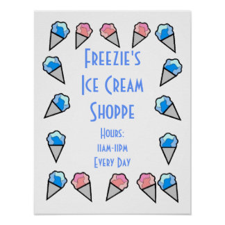 Custom Personalized Ice Cream Border Posters