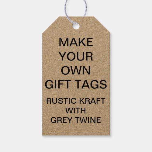 Custom Personalized Kraft Gift Tags  Grey Twine
