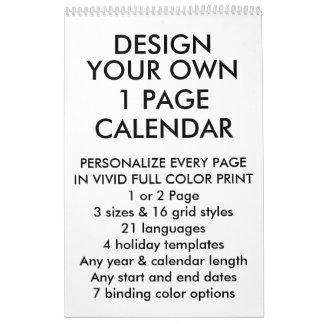 "Custom Personalized Medium 17""x11"" 1-Page Calendar"