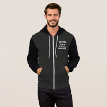Custom Personalized Men's BLACK FULL ZIP HOODIE