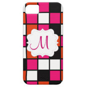 Custom Personalized Monogram Initial Pink Mosaic iPhone 5 Covers