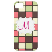Custom Personalized Monogram Initial Pink Mosaic iPhone 5 Cover