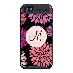 Custom Personalized Monogram Pink Purple Flowers iPhone 5 Cases