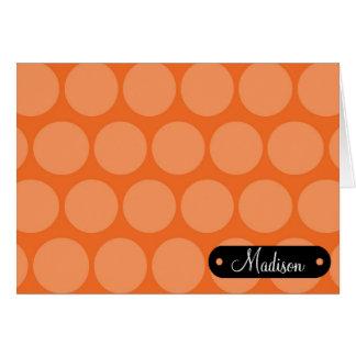 Custom Personalized Name Big Orange Polka Dots Card