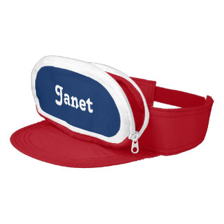 Custom Personalized Name Navy Blue Red Visor