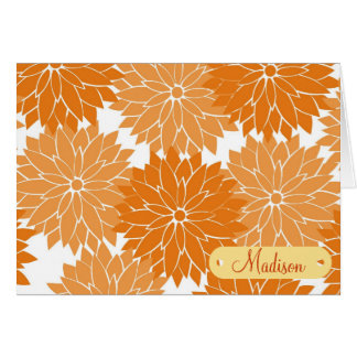 Custom Personalized Name Orange Flower Blossoms Card