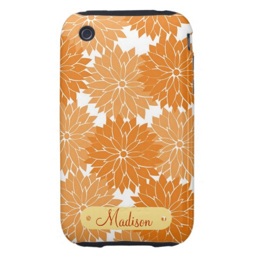 Custom Personalized Name Orange Flower Blossoms iPhone 3 Tough Cases