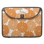 Custom Personalized Name Orange Flower Blossoms Sleeves For MacBook Pro