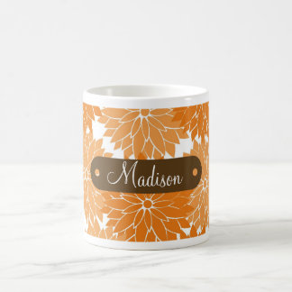 Custom Personalized Name Orange Flower Blossoms Classic White Coffee Mug