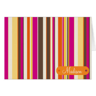 Custom Personalized Name Pink Orange Stripes Card