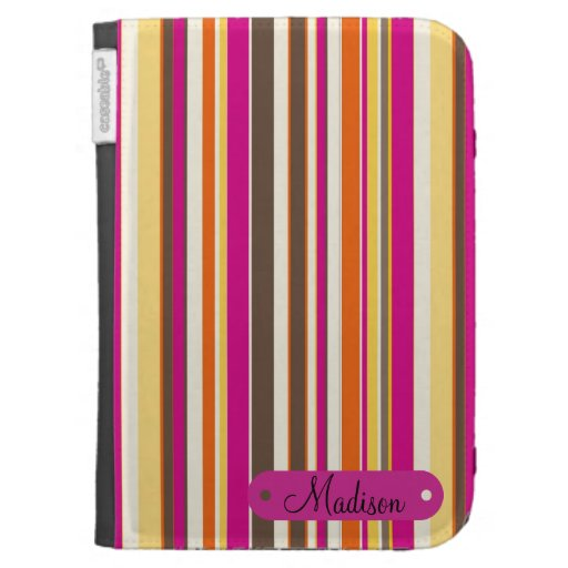 Custom Personalized Name Pink Orange Stripes Kindle Cover