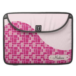 Custom Personalized Name Pink Tiles Wave Pattern MacBook Pro Sleeve