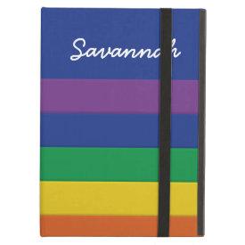 Custom Personalized Name Rainbow Striped Case iPad Folio Cases