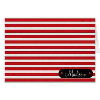 Custom Personalized Name Red White Striped Pattern Card
