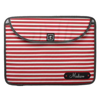 Custom Personalized Name Red White Striped Pattern Sleeve For MacBooks
