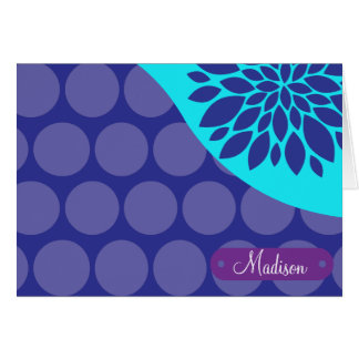 Custom Personalized Name Teal Purple Polka Dots Card
