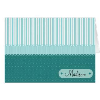 Custom Personalized Name Teal Stripes Polka Dots Card