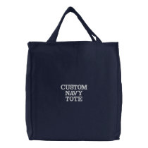 Custom Personalized Navy Blue Embroidered Tote Bag