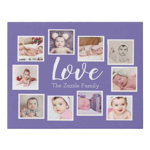 Custom Personalized One of a Kind 10 Photo Family Faux Canvas Print