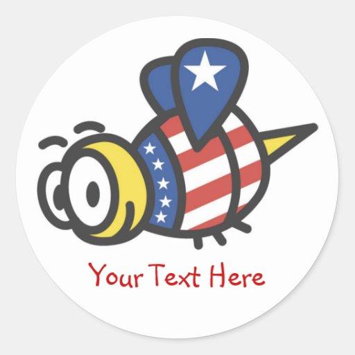 Custom Personalized Patriotic Bumblebee Stickers