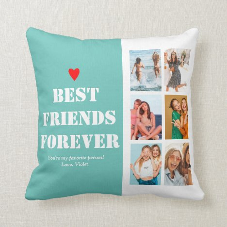 Custom Personalized Photo Collage BFF Bestie Throw Pillow
