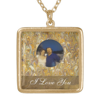 Custom Personalized Photo I Love You Gold Plated Necklace