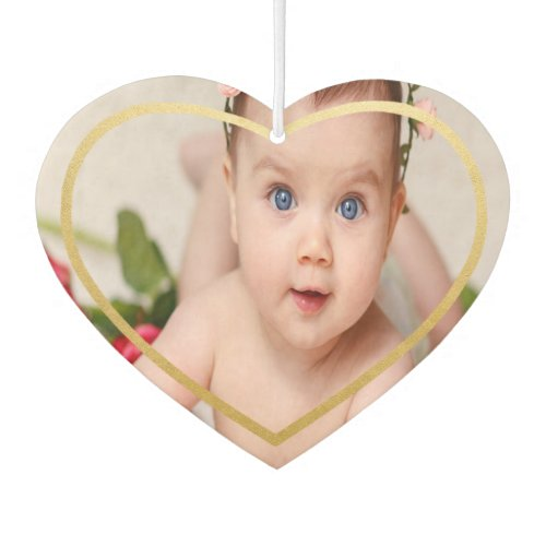 Custom  Personalized Photo With Heart in Gold Air Freshener