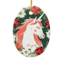 Custom Personalized Poinsettia Unicorn Horse Ceramic Ornament