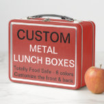 """Custom Personalized RED Metal Lunch Box Template<br><div class=""""desc"""">Custom printed personalized RED METAL LUNCH BOX Blank Template - 6.75"""" high x 8.625"""" wide x 3.75"""" deep, Weight: 12 oz. Design, create, make your own. Your photo, image, text, logo, graphics in full color print on one side or on both sides of the lunchbox. Food contact safe interior material,...</div>"""