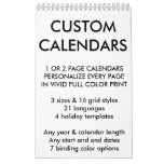 "Custom Personalized Single Page 11"" x 7"" Calendar"