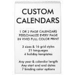 "Custom Personalized Single Page 17"" x 11"" Calendar"