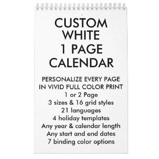 "Custom Personalized Small 11""x7"" 1-Page Calendar"