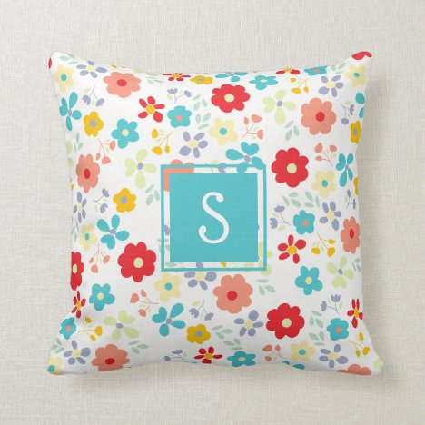 Custom Personalized Spring Floral Flower Pattern Throw Pillow