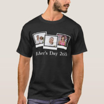 Custom Personalized Three Photo Father's Day T-Shirt