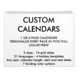 """Custom Personalized Two-Page 11"""" x 14.25"""" Calendar"""