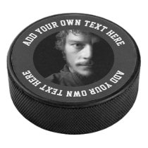 Custom personalized unique text and photo hockey puck