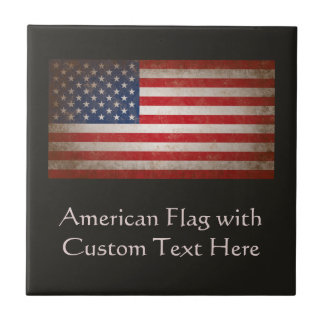 Custom Personalized Vintage American Flag Plaque Small Square Tile