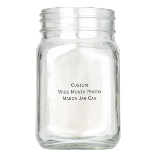 Custom Personalized Wide Mouth Photo Mason Jar Can