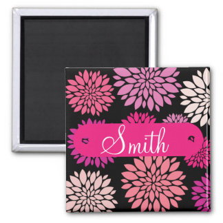 Custom Personalized with Name Pink Purple Flowers 2 Inch Square Magnet