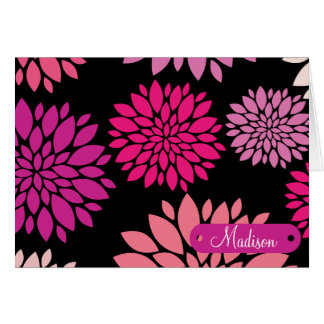 Custom Personalized with Name Pink Purple Flowers Card