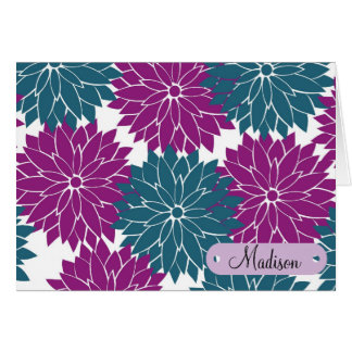 Custom Personalized with Name Purple Blue Flowers Card