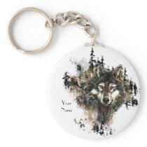 Custom, Personalized Wolf Mountain Animal art Keychain