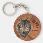 Custom, Personalized Wolf Tracks Keychain