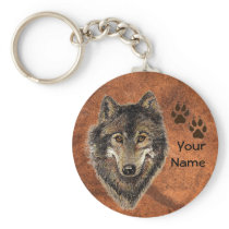 Custom, Personalized Wolf Tracks Keychain