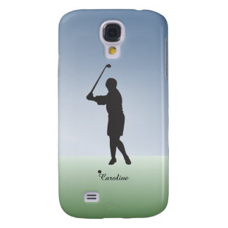 Custom Personalized Woman Golfer with Name Samsung Galaxy S4 Cover