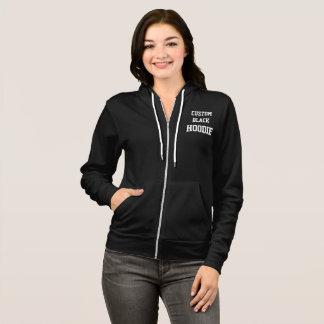 Custom Personalized Women's BLACK FULL ZIP HOODIE
