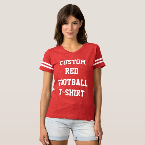 Custom Personalized Womens RED FOOTBALL T_SHIRT