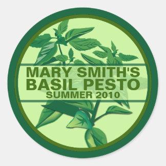 Custom Pesto Labels, Basil Pesto Jarring Labels Classic Round Sticker